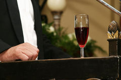 Champagne auf dem Podium Stockfotos