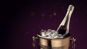 Champagne auf Eiseimer Stockfotos