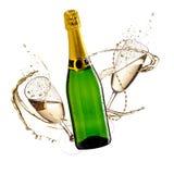 Champagne auf goldenem Hintergrund Lizenzfreie Stockfotografie