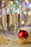 Champagne ball red gold new year glas Stock Photos