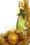 Champagne ball and tinsel Royalty Free Stock Photo