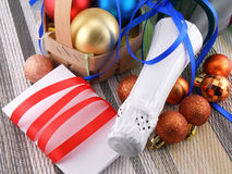 Champagne and balls as a New Year decoration Royalty Free Stock Image