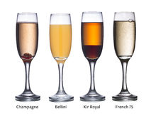 Champagne based cocktails Stock Images