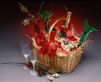 Champagne basket. Gift basket of champagne & fluted glasses Stock Photo