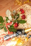 Champagne basket. Basket with champagne, glasses and red roses Royalty Free Stock Images
