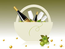 Champagne basket  for celebration Royalty Free Stock Photography