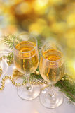 Champagne and bauble Stock Image