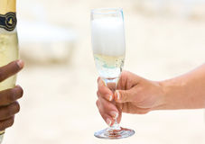 Champagne on the beach. Wedding celebration with champagne on the beach Stock Photos