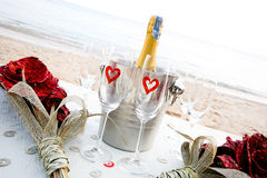 Champagne on the beach Royalty Free Stock Photography