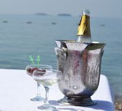 Champagne on the beach. Stock Photo
