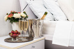 Champagne in bed Royalty Free Stock Images