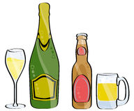 Champagne and beer. Glass and bottle of champagne and beer isolated on white Royalty Free Stock Photo