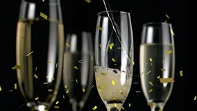 Champagne being poured into a glass vector illustration