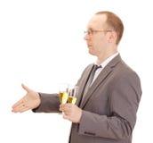 Champagne bevente della persona di affari Immagine Stock Libera da Diritti