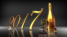 2017 with champagne on black background. 3D render image representing happy new year 2017 on black background Royalty Free Stock Photos