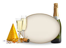 Champagne and blank card Royalty Free Stock Image