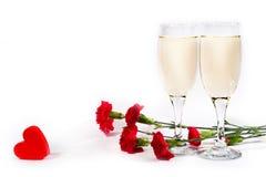 Champagne, bloemen en hart Royalty-vrije Stock Foto