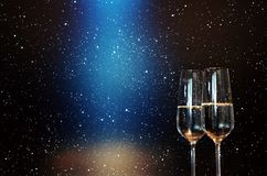 Champagne with blue spotlight Royalty Free Stock Photography