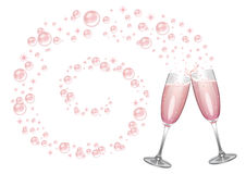 Champagne, bolle e scintille rosa Immagini Stock Libere da Diritti