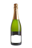 Champagne bottle. Isolated on white background. Blank label for add text Stock Photos
