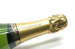 Champagne bottle. Neck view Stock Photography
