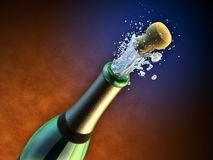 Champagne bottle. Opening of a champagne bottle during a party. Digital illustration Royalty Free Stock Photography