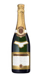 Champagne bottle. With blank labels isolated on white. Customizable labels