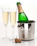 Champagne Bottle And Glasses Stock Image
