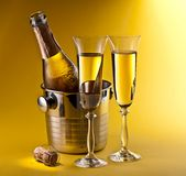 Champagne Bottle And Glasses Royalty Free Stock Photo