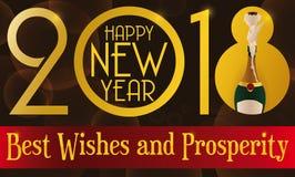 Champagne Bottle aperto e buoni desideri per l'anno 2018, Immagine Stock