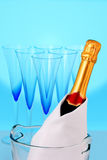 Champagne bottle. And beautiful glasses Stock Image