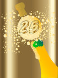 25 Champagne. Champagne bottle being opened with froth and bubbles with a large bubble exclaiming 10 Stock Photos