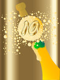 10 Champagne. Champagne bottle being opened with froth and bubbles with a large bubble exclaiming 10 Royalty Free Stock Photos