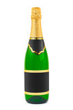 Champagne bottle with blank label. Isolated on white background Royalty Free Stock Photo