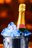 Champagne bottle in a bucket Stock Images