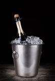 Champagne bottle in a bucket with ice Stock Photography