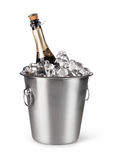 Champagne bottle in a bucket with ice Royalty Free Stock Images