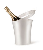 Champagne bottle in a bucket with ice Royalty Free Stock Image