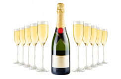 Champagne bottle and champagne glasses Stock Images