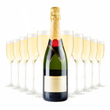 Champagne bottle and champagne glasses Royalty Free Stock Photo