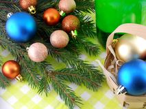Champagne bottle and christmas baubles, Merry Christmas and Happy New Year Stock Photos