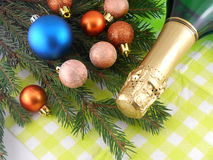 Champagne bottle and christmas baubles, Merry Christmas and Happy New Year Stock Images