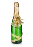 Champagne bottle with christmas decor Royalty Free Stock Photo