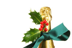 Champagne bottle with Christmas decoration Royalty Free Stock Image