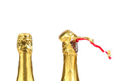 Champagne bottle closed and opened muzzle. Stock Photo
