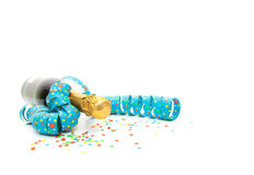 Champagne bottle with confetti Royalty Free Stock Image
