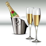 Champagne bottle in cooler Royalty Free Stock Photography