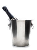 Champagne bottle in cooler Royalty Free Stock Photos