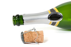 Champagne bottle and cork Stock Image
