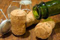Champagne bottle and corks Royalty Free Stock Image